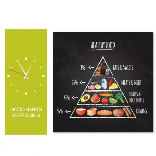 24mama  二聯式 時鐘掛畫 無框畫 40x40_20X50cm-健康飲食