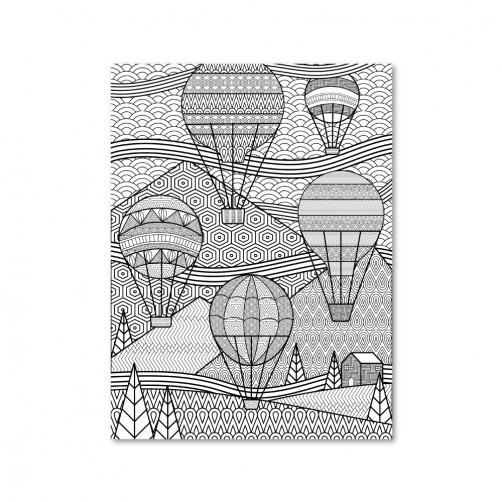 24mama  單聯式 現代無框畫 掛畫40X30cm-熱氣球線繪