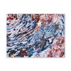 24mama掛畫 單聯式 藍紅 藝術抽象 油畫風無框畫 30X40cm-流動的對比