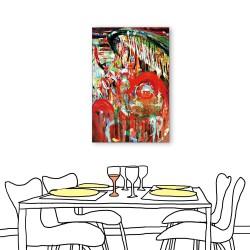 24mama掛畫  單聯式 藝術抽象 油畫風無框畫 40X60cm-紅的抽象