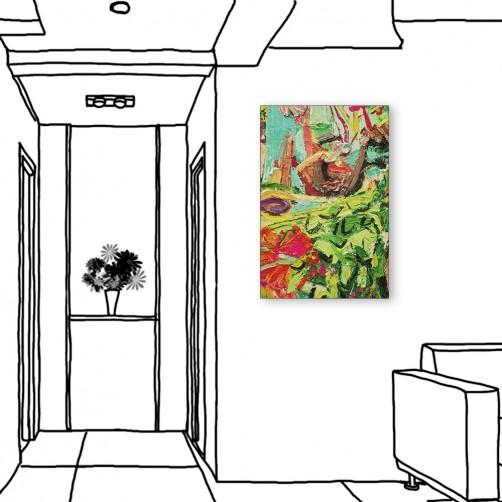 24mama掛畫  單聯式 綠色 藝術抽象 油畫風無框畫 40X60cm-疊疊抽象
