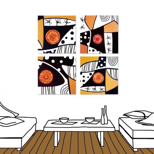 24mama掛畫  四聯式 黑橘藝術 複合印象 色彩抽象風無框畫 30X30cm-內心戲