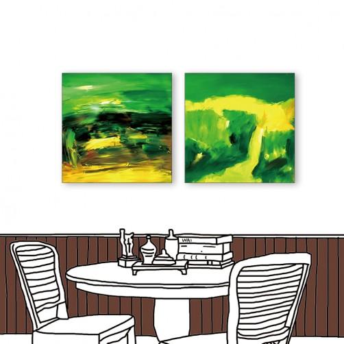 24mama掛畫  二聯式 黃綠媒合 藝術抽象 油畫風無框畫 30X30cm-抽象的含意