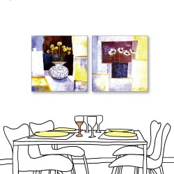 24mama掛畫  二聯式 藝術抽象 花卉 油畫風無框畫 30X30cm-溫暖