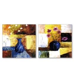 24mama掛畫  二聯式 藝術抽象 花卉 油畫風無框畫 30X30cm-夏日的奔放