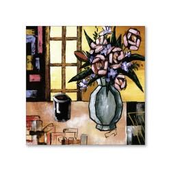 24mama掛畫  單聯式 藝術抽象 花卉 油畫風無框畫 30X30cm-馬克家的玫瑰