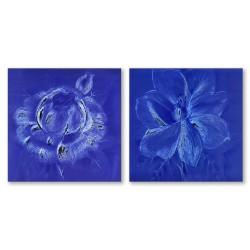 24mama掛畫  二聯式 藝術花卉 手繪插畫風無框畫 30X30cm-花卉速寫1