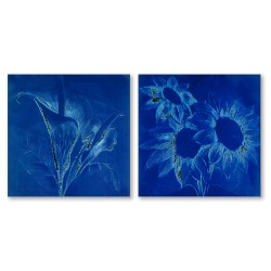 24mama掛畫  二聯式 藝術花卉 手繪插畫風無框畫 30X30cm-花卉速寫2