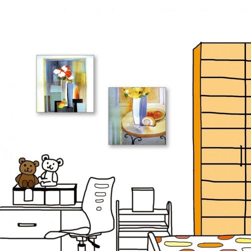 24mama掛畫  二聯式 藝術抽象 花卉 油畫風無框畫 30X30cm-餐廳的花瓶