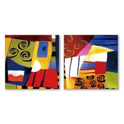 24mama掛畫  二聯式 藝術抽象 油畫風無框畫 30X30cm-耶誕節的心情