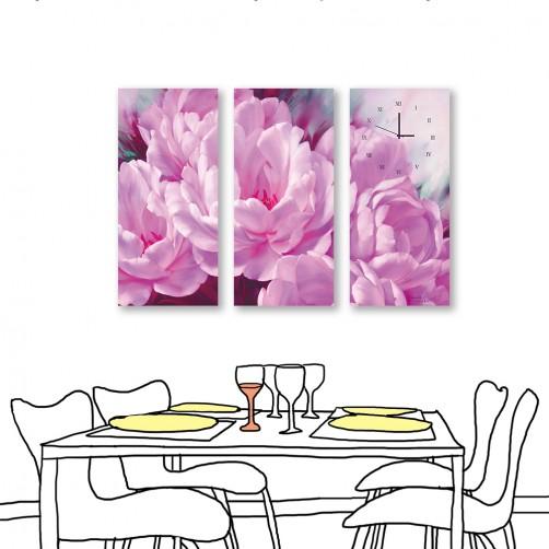 24mama掛畫 三聯式 藝術裝飾 粉色花卉 油畫風無框畫 時鐘掛畫 23X50cm-花開