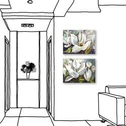 24mama掛畫  二聯式 藝術裝飾 白色花卉 油畫風無框畫 40X30cm-冬夜白花