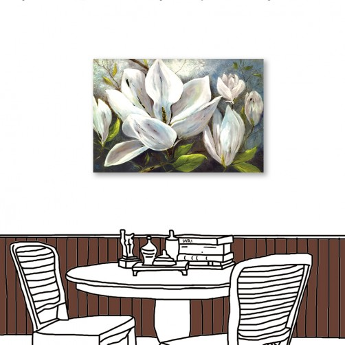 24mama掛畫  單聯式 藝術裝飾 白色花卉 油畫風無框畫 60X40cm-冬夜白花1