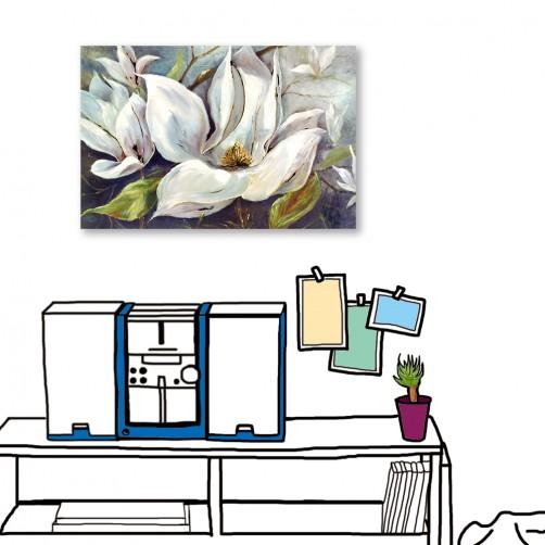 24mama掛畫  單聯式 藝術裝飾 白色花卉 油畫風無框畫 60X40cm-冬夜白花2