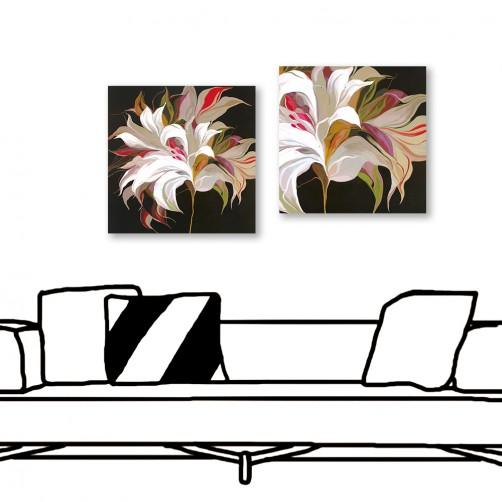 24mama掛畫  二聯式 藝術花卉 現代插畫風無框畫 30X30cm-深夜花開