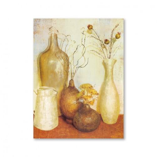 24mama掛畫  單聯式 藝術裝飾 花卉 古樸花瓶 油畫風無框畫 30X40cm-靜謐的下午