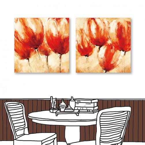 24mama掛畫  二聯式 藝術花卉 紅花 油畫風無框畫 30X30cm-思念