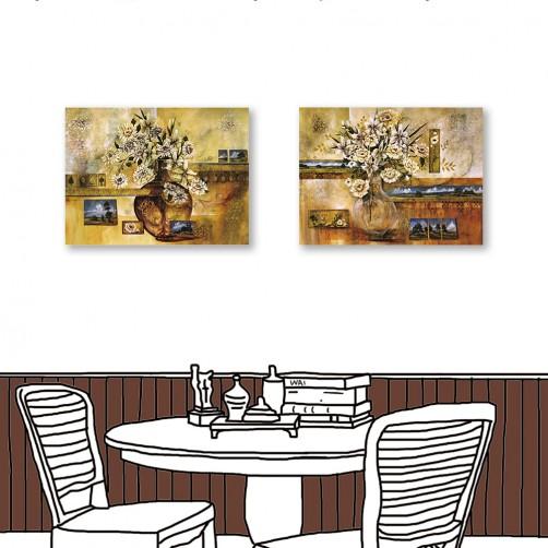 24mama掛畫  單聯式 藝術裝飾 花卉 花瓶 油畫風無框畫 60X80cm-白瓶