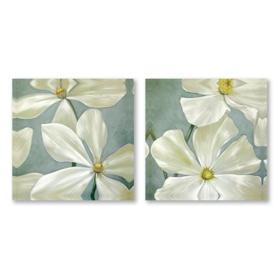 24mama掛畫 二聯式 藝術花卉 白花 油畫風無框畫 30X30cm-愛憐