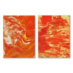 24mama掛畫  二聯式 藝術抽象 油畫風無框畫 30X40cm-新的氣象