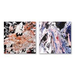 24mama掛畫  二聯式 對比色彩 藝術抽象 油畫風無框畫 30X30cm-沉默的流動