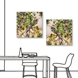 24mama掛畫  二聯式 藝術抽象 油畫風無框畫 30X30cm-夏天的午後
