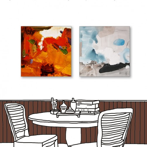 24mama掛畫  二聯式 藝術抽象 油畫風無框畫 30X30cm-現代北歐