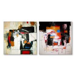 24mama掛畫  二聯式 藝術抽象 油畫風無框畫 30X30cm-寧靜的快樂