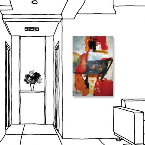 24mama掛畫  單聯式 藝術裝飾 抽象油畫風無框畫 40X60cm-相對相遇