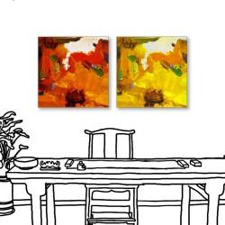 24mama掛畫  二聯式 藝術抽象 油畫風無框畫30X30cm-炙烈