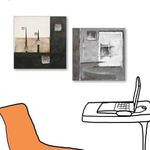 24mama掛畫  二聯式 藝術抽象 油畫風無框畫 30X30cm-現代上班族
