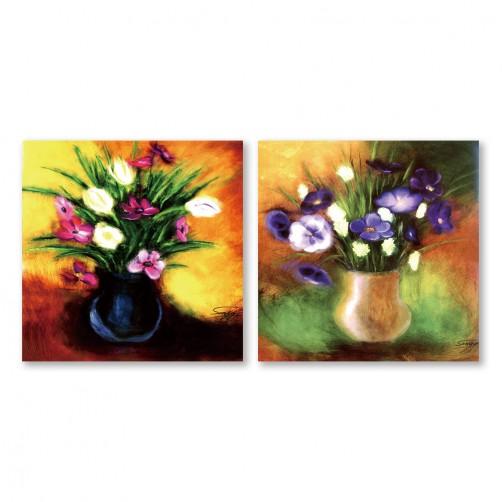 24mama掛畫 二聯式 藝術花卉 豐富 油畫風無框畫 30X30cm-優雅