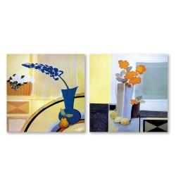 24mama掛畫  二聯式 藝術抽象 花卉 北歐 油畫風無框畫 30X30cm-冷調花卉