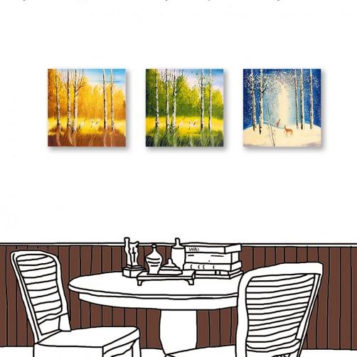 24mama掛畫 三聯式 風景 手繪風 藝術無框畫 30x30cm-季節