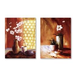 24mama掛畫 二聯式 粉色花卉 油畫風無框畫 30X40cm-燈下之花