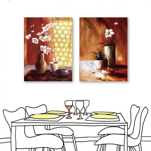 24mama掛畫  單聯式 粉色花卉 花瓶 油畫風無框畫 60X80cm-燈下之花1