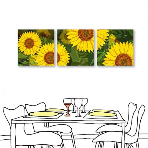 24mama掛畫 三聯式 黃色花卉 無框畫 30x30cm-向日葵