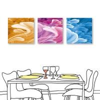 24mama掛畫 三聯式 抽象幾何 鮮豔色彩 無框畫 30x30cm-舞蹈