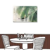 24mama掛畫 單聯式 水墨 手繪風 山水風景 無框畫 40X60cm-撐船