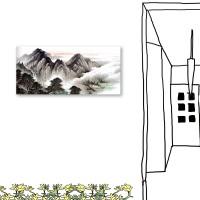 24mama掛畫 單聯式 水墨 山水風景 無框畫 23x50cm-雲峰
