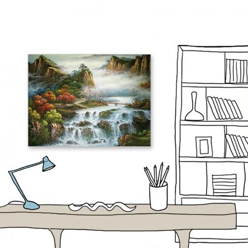 24mama 單聯式 中國山水 油畫風無框畫 60X80cm-山中迷霧