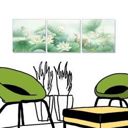 24mama 三聯式 中國花卉 彩墨 水墨風無框畫 40X40cm-蓮池