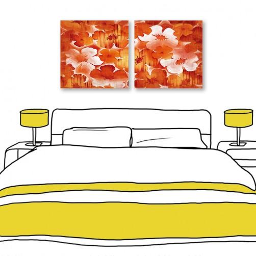 24mama掛畫 二聯式 紅色花卉 油畫風無框畫 30X30cm-迎新