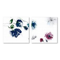 24mama掛畫 二聯式 簡約 花卉 手繪風 時鐘掛畫 無框畫 30X30cm-雅致