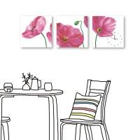 24mama掛畫 三聯式 粉紅花卉 時鐘掛畫 無框畫 30x30cm-分道揚鑣