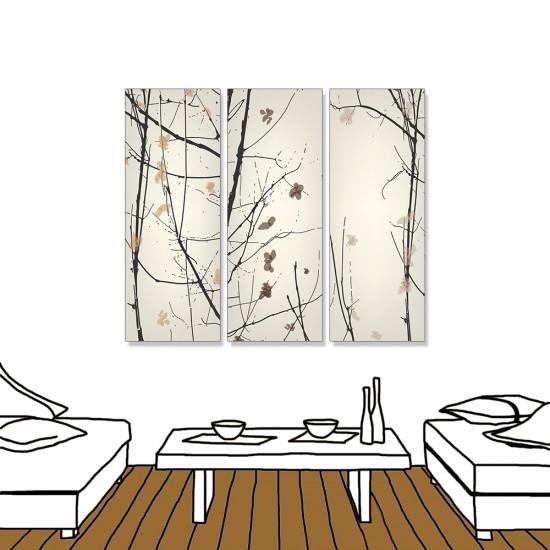 24mama掛畫 三聯式 現代東方 枯木 花卉 水墨風無框畫 30X80cm-春意