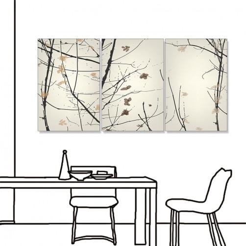 24mama掛畫 三聯式 現代東方 枯木花卉 水墨風無框畫 40X60cm-春意