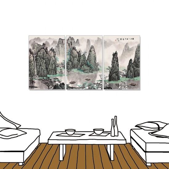 24mama掛畫 三聯式 中國山水 水墨風無框畫 40X60cm-矗立