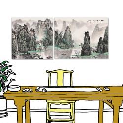 24mama掛畫 二聯式 中國山水 水墨風無框畫 80X60cm_60X60cm-矗立