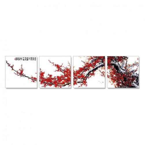 24mama 掛畫 多聯式 中國花卉 水墨風無框畫 30X30cm-紅梅